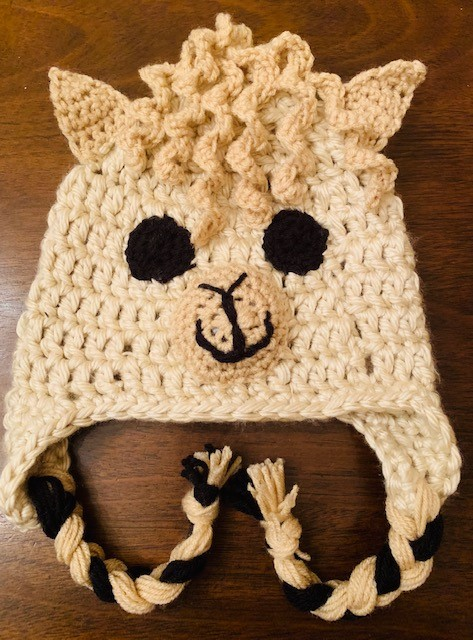 Curly Haired Llama Crochet Hat- Free Pattern