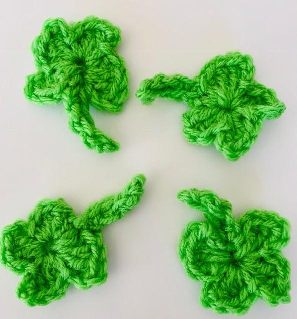 Crochet 4 Leaf Clover Embellishment- Free Pattern