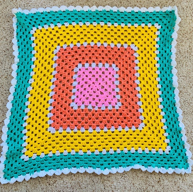 Crochet Sherbet Striped Baby Blanket- Free Pattern