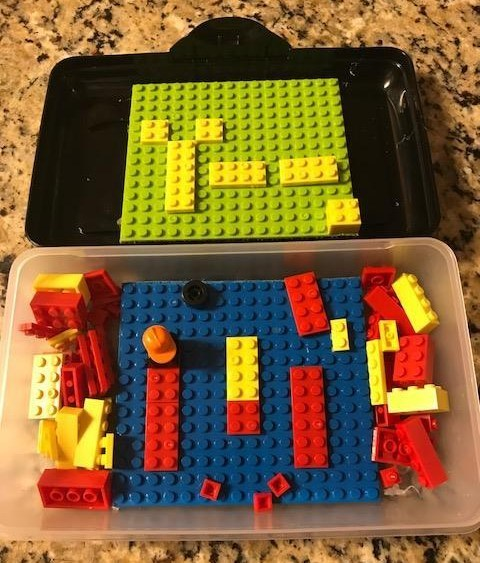Dollar Store Lego- Inspired Travel Case with Faux Legos